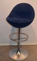 Barstol fra Johanson Design, mod Venus i blått stoff, 83 cm sittehøyde, pent brukt