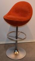 Barstol fra Johanson Design, mod Venus i rødt stoff, 83 cm sittehøyde, pent brukt