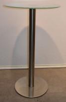 Barbord / ståbord i frostet glass / satinert stål, Ø=60cm, høyde 105cm, pent brukt