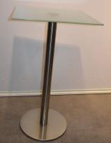 Barbord / ståbord i frostet glass / satinert stål,60x60cm, høyde 105cm, pent brukt