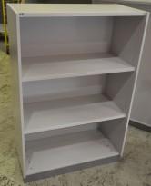 EFG ringpermreol / bokhylle i lys grå, 3 høyder, bredde 80cm, høyde 120cm, pent brukt