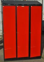 Garderobeskap i stål, 3 rom, rødt / sort, 118cm bredde, 190cm høyde, brukt