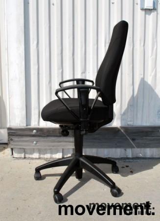 Kinnarps FreeFloat 6000 / Synchrone 8000 med armlener, Y-rygg, nytrukket i sort, pent brukt bilde 3