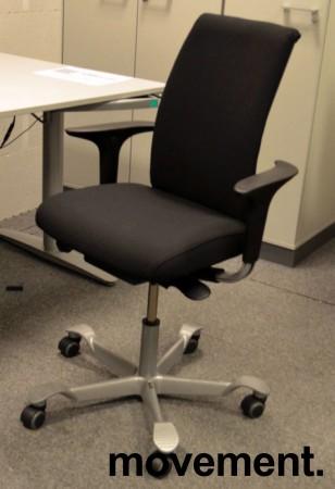 Håg H05 5500 kontorstol i sort, nytrukket, med armlener, pent brukt bilde 1