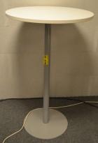 Barbord / ståbord / minglebord i hvitt, Ø=70cm, høyde 110cm, NY / UBRUKT plate
