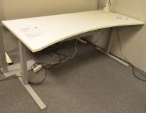 Skrivebord med elektrisk hevsenk i hvitt fra Linak, 180x80cm med mavebue, pent brukt