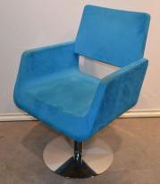 Materia Giro loungestol / besøksstol i blått mikrofiberstoff / krom, pent brukt