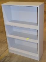 Bokhylle / åpen ringpermreol i lys grå, 3H, 80cm bredde, 119cm høyde, pent brukt