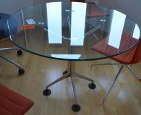 Møtebord / konferansebord i glass fra Oken, Ø=100cm, pent brukt