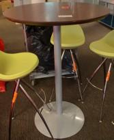 Barbord / ståbord med plate i mørkt tre, Ø=80cm, høyde 113cm, pent brukt