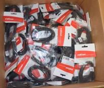 Kasse med USB A-B kabler, mange, ROLINE USB A-B 1,8meter,  UBRUKTE