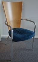 Kinnarps Ari konferansestol i mørk blå mikrofiber / eik, pent brukt