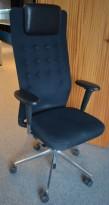 Lekker kontorstol fra Vitra, ID Trim L, sort stoff, høy rygg, nakkepute i skinn, pent brukt