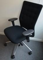Lekker kontorstol fra Vitra, ID Trim, sort stoff, pent brukt
