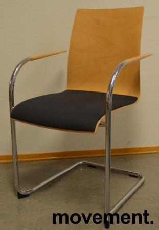 Konferansestol / stablestol fra Brunner i bøk / mørk grått stoff / krom, pent brukt bilde 1