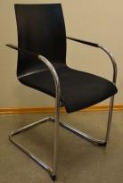 Konferansestol / stablestol fra Brunner i sort / sort stoff / krom, pent brukt