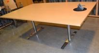 Møtebord i bøk, krom understell, 240x120cm, passer 8-.10 personer, kabelluke, pent brukt