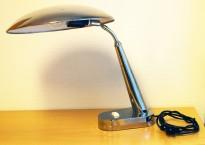 Vintage / retro bordlampe i krom, Ø=32cm på skjerm, pent brukt