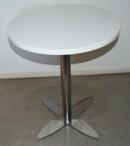 Lekkert, rundt loungebord i hvitt/krom, Ø=60cm, H=71,5cm, pent brukt med ny plate