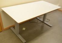 Skrivebord med elektrisk hevsenk i hvitt med kant i MDF, 160x80cm, pent brukt