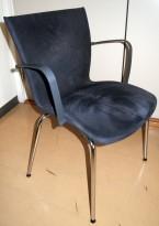 Konferansestol i grå mikrofiber / krom ben, pent brukt