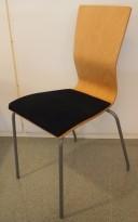 Konferansestol fra EFG i bøk / sort comfort sete / alugrå ben, modell GRAF, pent brukt