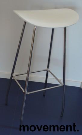 Barkrakk / barstol, Cornflake fra OFFECCT, hvit / krom, 82cm høyde, pent brukt bilde 2