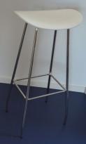 Barkrakk / barstol, Cornflake fra OFFECCT, hvit / krom, 82cm høyde, pent brukt