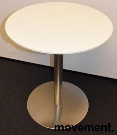 Lite, hvitt, rundt loungebord, understell i satinert stål, Ø=50cm H=60cm, pent brukt bilde 1
