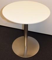 Lite, hvitt, rundt loungebord, understell i satinert stål, Ø=50cm H=60cm, pent brukt