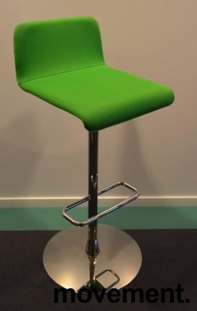 Barstol / barkrakk fra Offecct i grønt stoff / krom, 79cm sittehøyde, pent brukt bilde 1