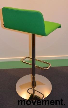Barstol / barkrakk fra Offecct i grønt stoff / krom, 79cm sittehøyde, pent brukt bilde 2