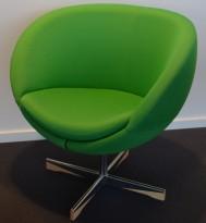 ForaForm Planet Loungestol i grønt stoff/krom, design: Svein Ivar Dysthe, Norsk klassiker, pent brukt