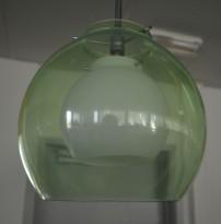 Taklampe / pendellampe i grønt glass / opal, Belid Pikant 20cm, pent brukt