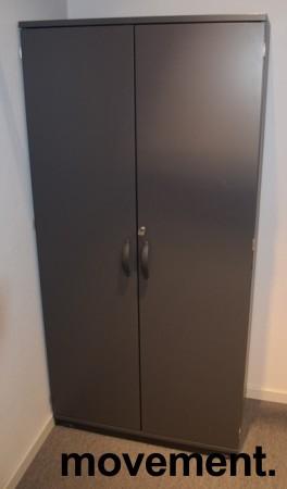 Kinnarps E-serie skap med dører, mørk grå, 4 permhøyder, 80cm bredde, 164cm høyde, pent brukt bilde 1