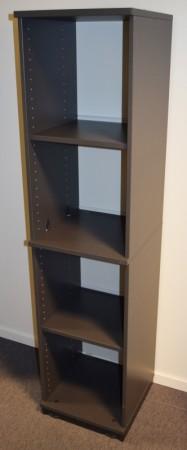 Kinnarps smal ringpermreol E-serie i mørk grå, 4 permhøyder,  164cm høyde, pent brukt bilde 1