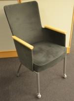 Konferansestol i grått mikrofiberstoff / bjerk fra Skandiform, pent brukt
