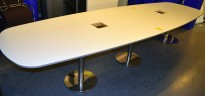 Møtebord i hvitt / krom, 380x120cm, passer 12-14 personer, pent brukt