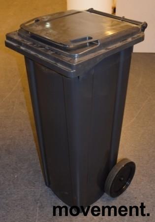 Avfallsdunk / søppelbøtte i sort plast på hjul 140l, sort / mørk grå, pent brukt bilde 2