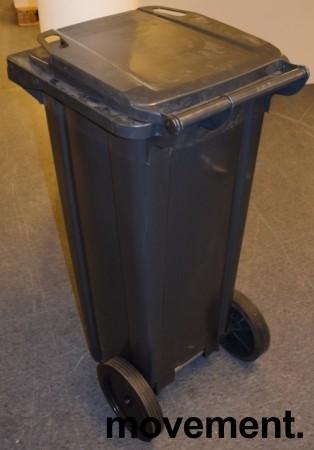 Avfallsdunk / søppelbøtte i sort plast på hjul 140l, sort / mørk grå, pent brukt bilde 3