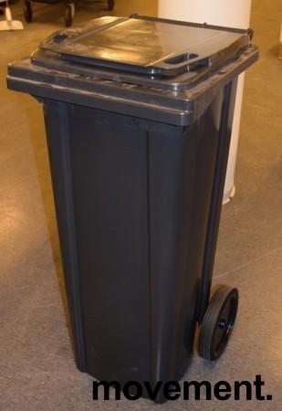 Avfallsdunk / søppelbøtte i sort plast på hjul 140l, sort / mørk grå, pent brukt bilde 1