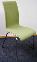 Konferansestol / stablestol i hvitt / grønt stoff / krom, RBM Bella, pent brukt