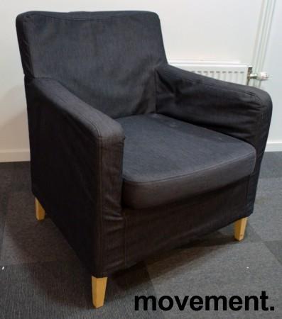 Loungestol / lenestol fra IKEA, Karlstad i mørkegrått stoff / bjerk, bredde 90cm, pent brukt bilde 1