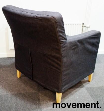 Loungestol / lenestol fra IKEA, Karlstad i mørkegrått stoff / bjerk, bredde 90cm, pent brukt bilde 2