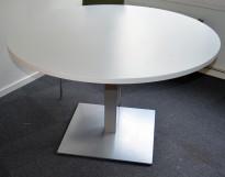 Rundt loungebord i hvitt / understell grått, Ø=120cm H=74cm, pent brukt