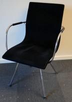 Lammhults Atlas konferansestol i sort comfort stoff / krom understell, pent brukt