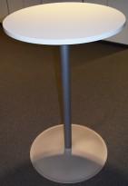 Ståbord med rund bordplate i lysegrått, Ø=70cm H=112cm, pent brukt
