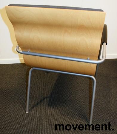 Konferansestol fra EFG, modell Billow, i grått stoff / bjerk, pent brukt bilde 3