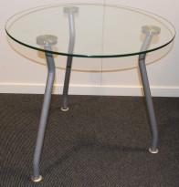 Loungebord i glass/stål  / lite glassbord Ø=60cm H=54cm, pent brukt