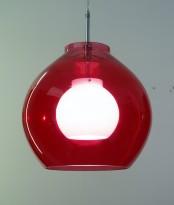 Taklampe / pendellampe i rødt glass / opal, Belid Pikant 28cm, pent brukt